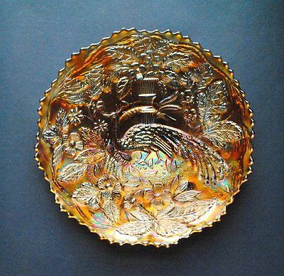 Antique Fenton Peacock At The Urn Marigold 9-Inch Plate  - Nice Colors! - MINT