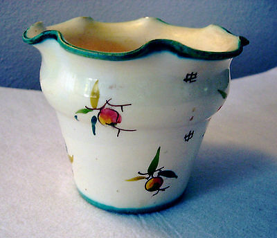 pottery vase or planter berry design  signed  J. W. Co. Italy 92/13