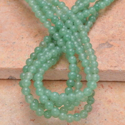 4MM NATURAL GREEN AVENTURINE GEMSTONE ROUND BEADS STRAND 16""