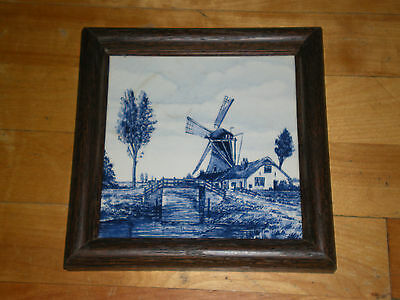 Blue Delft Windmill Tiles Holland Set Of 3 Framed For Hanging or Hotplate