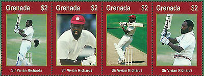 GRENADA WISDEN 2000 CRICKET  SIR VIV RICHARDS STRIP of 4 Values MNH