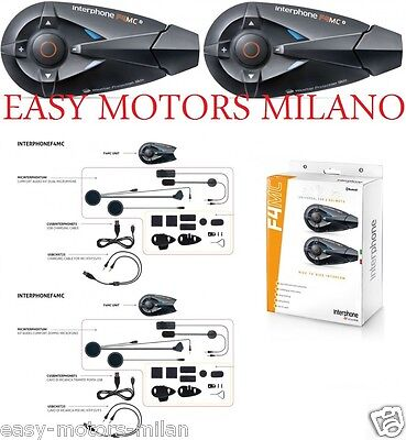 Coppia Interphone F4 Mc Bluetooth Cellular Line Impermeabile 100% Casco Modulare