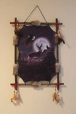 Indian Picture Deer Wolf Dream Catcher Mandella 22 x16  feathers Framed