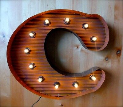 "LARGE VINTAGE STYLE LIGHT UP MARQUEE LETTER C, 24"" TALL industrial rustic sign"