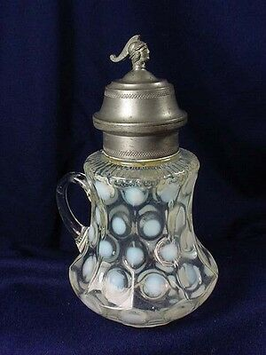 FIGURAL OPALESCENT COIN SPOT SYRUP PITCHER  PAT'D 1872