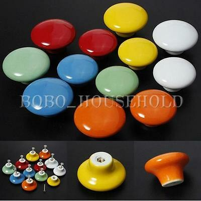 2pcs 32mm Ceramic Round Cabinet Cupboard Drawer Wardrobe Knob Pull Handle HOT