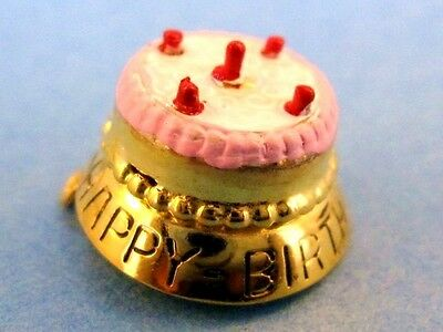 Vintage gold HAPPY BIRTHDAY CAKE MOVEABLE ENAMEL charm MOVABLE CANDLES RARE #M