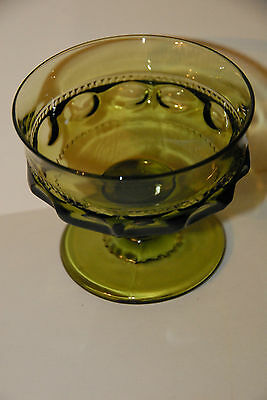 KINGS CROWN THUMBPRINT SHERBERT DESSERT CUP GOBLETS TIFFIN INDIANA OLIVE GLASS