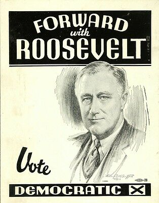PRESIDENTIAL CAMPAIGN POSTER PHOTO FRANKLIN D ROOSEVELT DEMOCRATIC PEARL HARBOR