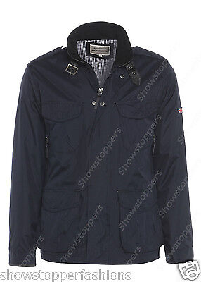 NEW Men's Jacket Smart Coat Size S M L XL Navy Blue Trench Mac Collar