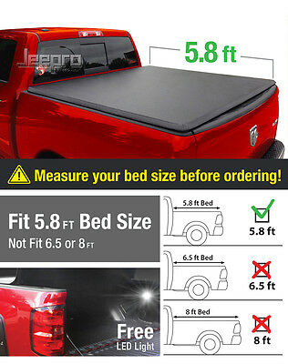 Premium Trifold Tonneau Cover For 2009-2016 Dodge Ram 1500 5.8ft/69.6in Bed