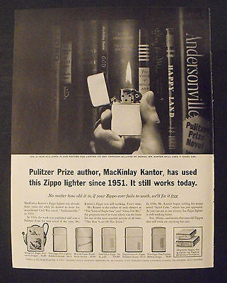 1961 Zippo Lighters Pulitzer Prize Winner-Winning Novel Mackinlay Kantor Ad