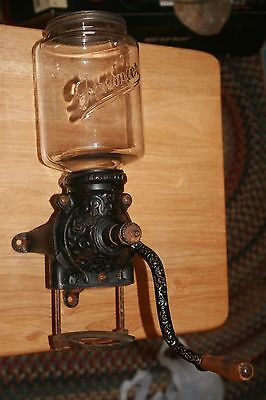 Antique Cast Iron 1905 Brighton Wall Mount Coffee Grinder With Premier Glass