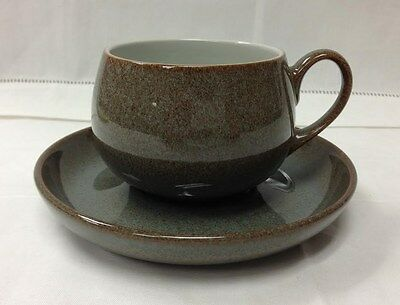 """Denby """"Greystone"""" Teacup & Saucer Stoneware Brand New Made In England"""