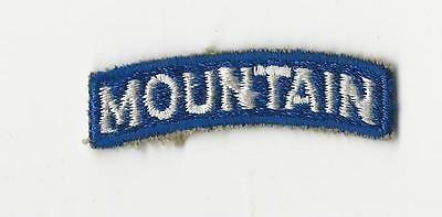 """US ARMY PATCH - 10TH MOUNTAIN DIVISION """"MOUNTAIN TAB"""" - ORIGINAL WWII ERA"""