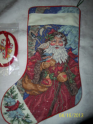 Completed Gentle St. Nick cross stitch stocking NEW