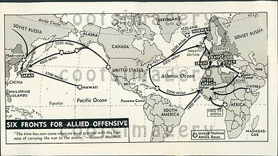 1942 WWII World Map Allied Offensive  Press Photo