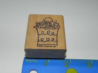 Stampin Up Rubber Stamp - Cute Whimsical Bag / Basket of Flowers