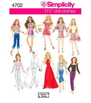 """4702 Simplicity 11 1/2"""" Barbie Doll Clothes Patterns New Uncut 10 outfits"""