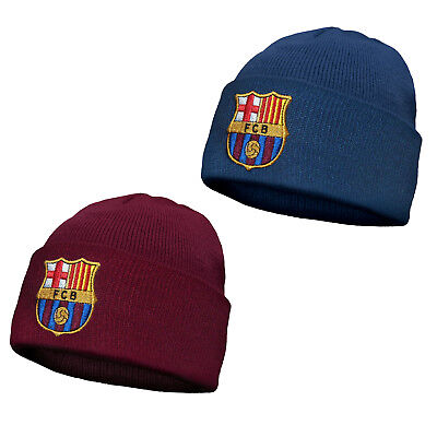 FC Barcelona Official Football Soccer Gift Knitted Bronx Beanie Hat Crest