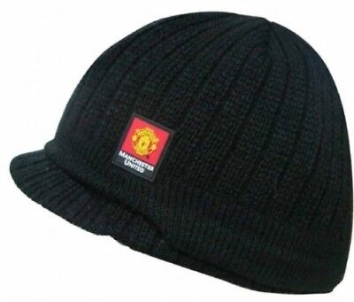 Manchester United Football Club Official Soccer Gift Knitted Peaked Beanie Hat