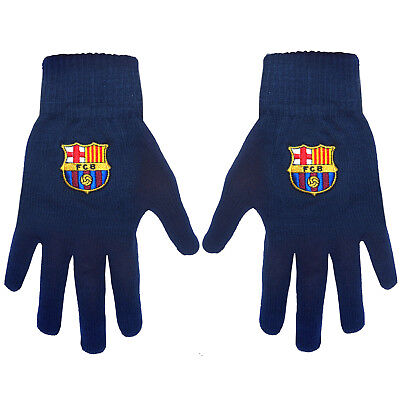 FC Barcelona Official Gift Adults Knitted Gloves Navy