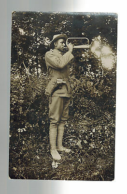 Mint Real Picture Postcard Black US Army Soldier Pre WW 1 Era Bugeler