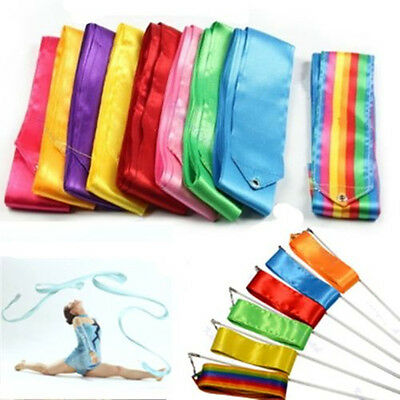 4M Dance Ribbon Gym Rhythmic Art Gymnastic Ballet Streamer Twirling Rod 8COLORS