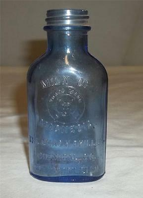 antique blue milk of magnesia bottle by chas.h. phillips glenbrook, conn