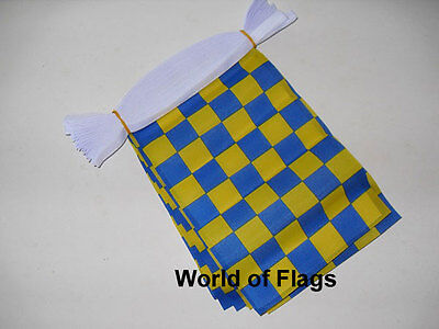 BLUE and YELLOW CHECK BUNTING Checkered 9m 30 Fabric Flags Racing Sport 9 Metres