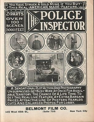 Ethel Clayton 1913 Ad- The Police Inspector/Belmont Film Co NY