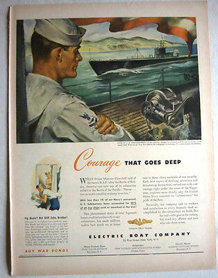 1943 Wwii Electric Boat Company - Submarine Sailors Print Ad!