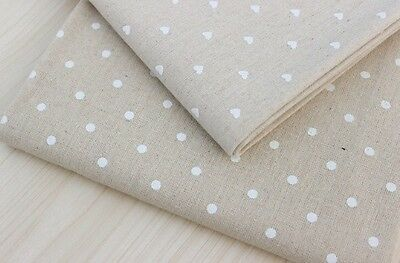 FQ Hessian Natural Linen Fabric Material With White Hearts Craft Sew Quilt Craft