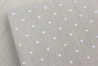 100 X 50cm Hessian Natural Linen Jute Fabric With White Hearts Craft Sew Quilt