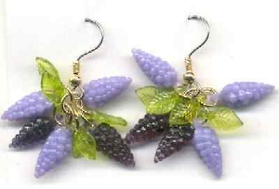 Funky GRAPES EARRINGS Vintage Beads Wine Tasting Novelty Fun Food Charms Jewelry