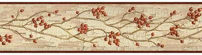 Rosehip Garland Wallpaper Border - Orange/Red Berries - Rustic/Country  SALE!