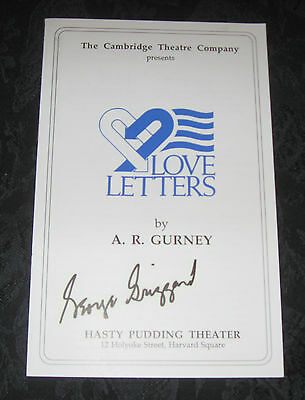 Playbill LOVE LETTERS signed by George Grizzard, Hasty Pudding Theatre Cambridge