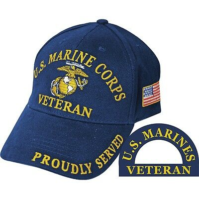 United States Marine Corps Veteran Proudly Served Blue Hat Cap USMC