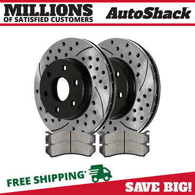 [Front] Set Drilled & Slotted 6 Lug Performance Brake Rotors And Ceramic Pads