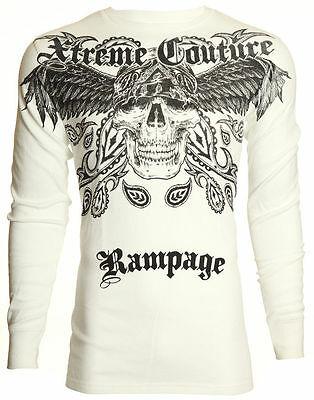 Xtreme Couture AFFLICTION Men THERMAL Shirt BANDANA SKULL Biker MMA UFC M-XL $58