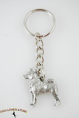 Norwegian Elkhound Keychain Fine Pewter Silver Key Chain Ring