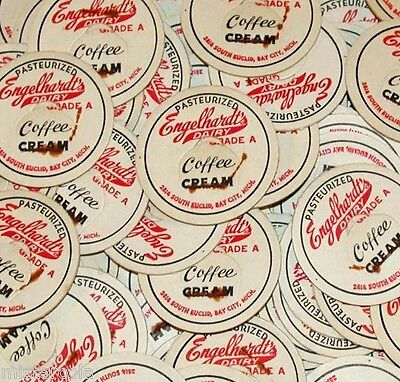 Vintage milk bottle caps ENGELHARDTS DAIRY COFFEE CREAM Lot of 50 Bay City Mich