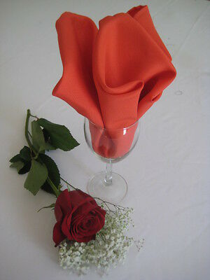 LOT OF 100 GUAVA CORAL WEDDING CATERING POLYESTER NAPKINS 20 X 20