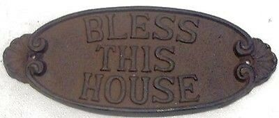 Bless This House Sign Cast Iron Home Den Yard Garden Barn Shop Garage Decor B