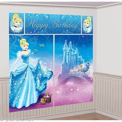 CINDERELLA Sparkle SCENE SETTER DECORATING KIT ~ Birthday Party Supplies