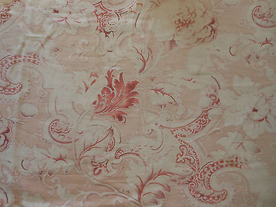 Antique 19thc French Time Softened Floral Scroll Fabric ~ Blush Apricot Lavender
