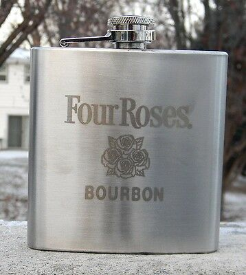 New Four Roses Bourbon Stainless Steel Flask 6 Oz