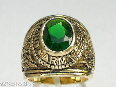 12X10 mm United States Army Military Green Emerald May CZ Stone Men Ring 7-15