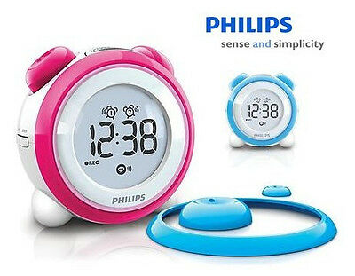 Philips AJ3138 Digital Alarm Clock Radio Interchangeable Rings Buttons Blue/Pink