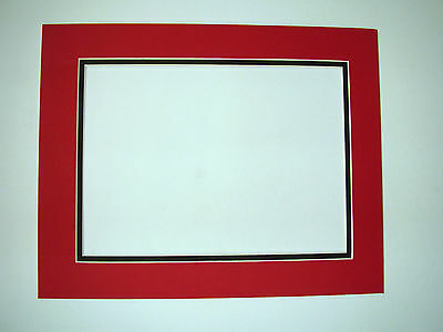 Picture Frame Double Mat 8x10 for 5x7 photo Red with Black liner exact opening